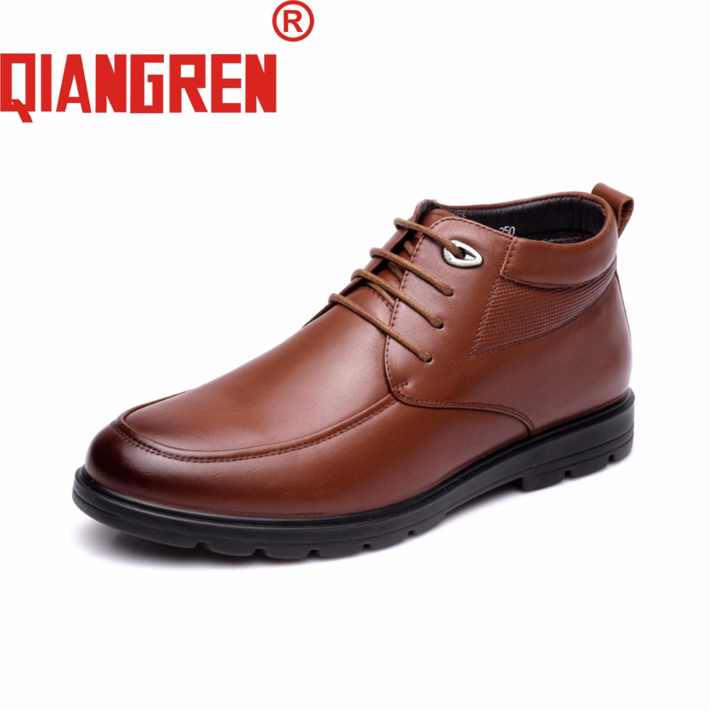 QIANGREN High Grade Quality Military Factory Direct Men's Winter Genuine Leather Wool Snow Boots Outdoors Business Dress Shoes a low cost factory direct high grade high cycle life lithium polymer battery 801745