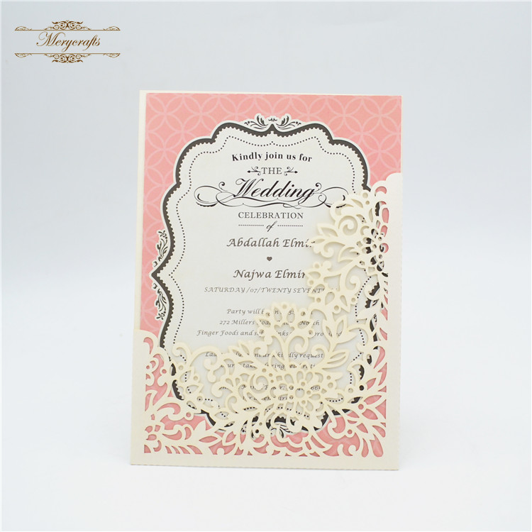 Us 22 0 Cream Wedding Invitations Laser Cut Pocket Muslim Cards In From Home Garden On Aliexpress 11 Double