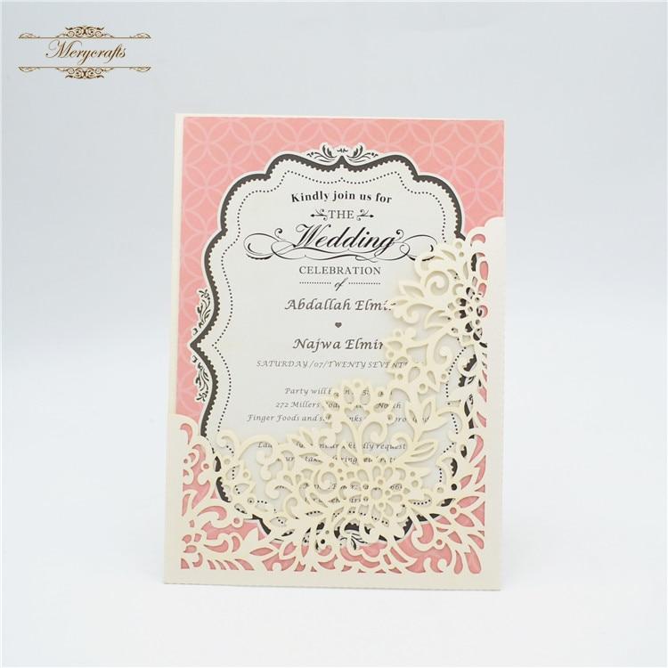 Laser Cut Pocket Muslim Wedding Cards