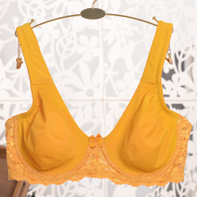 Women's Plus Size Bra Sexy Lace Bras Larger Sizes Yellow Bralette Wide Straps Full Coverage BH For Big Breasted Women C D E F G