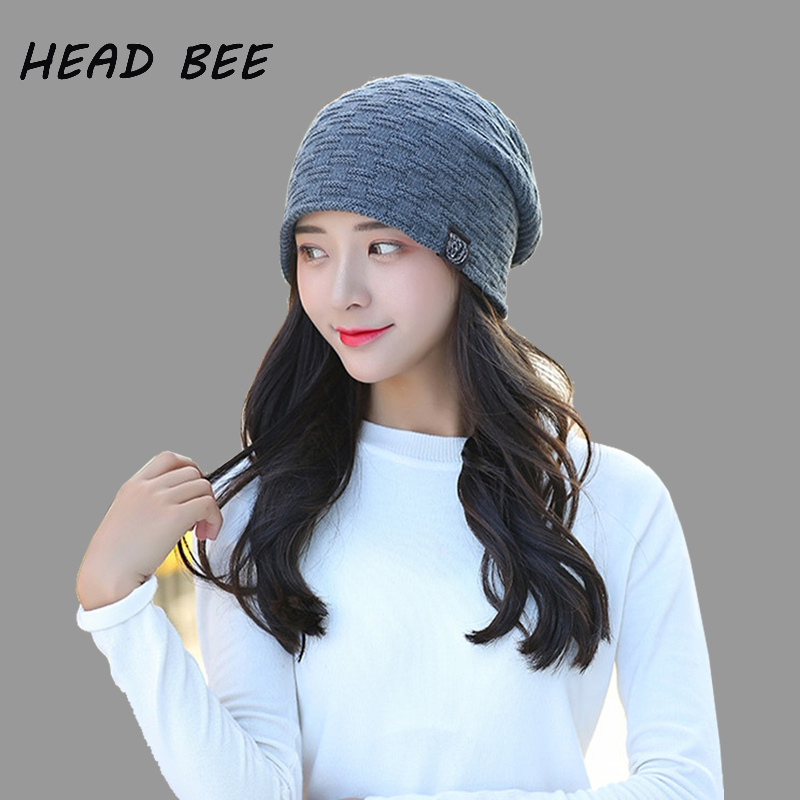 [HEAD BEE] Brand Beanies Hat Winter Cotton Knitted Hat Lady Warm Striped Bonnet Hat Skullies for Men 2017 Cap for microsoft surface rt 1 replacement lcd display touch screen digitizer glass assembly 10 6 inch black for tablet