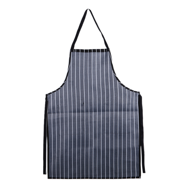 Striped Cooking Apron with Pockets