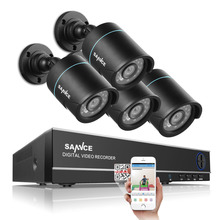 SANNCE 4CH Home Security CCTV System 4PCS 1200TVL IR Weatherproof Outdoor CCTV Camera  Surveillance Kit