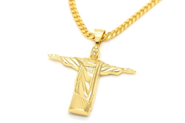 gold color Christ The Redeemer Cross Pendant Brazil Rio De Janeiro ...