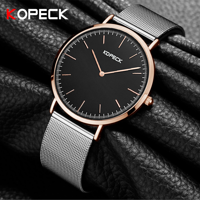 KOPECK Brand Men Waterproof Stainess Steel Casual Gold Milan Watches Men's Quartz Sport Wrist Watch Male Clock Relogio Masculino wwoor waterproof ultra thin date clock male stainess steel strap casual quartz watch men wrist sport watch 3 colors