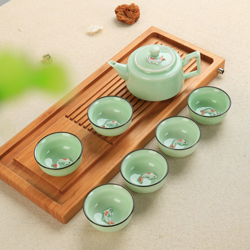 Chinese Tea Set Porcelain Celadon Fish Teacup Set Teapot Drinkware Oolong Tea Kung Fu Tea Set Ceramic Tureen (Not Include Tray)