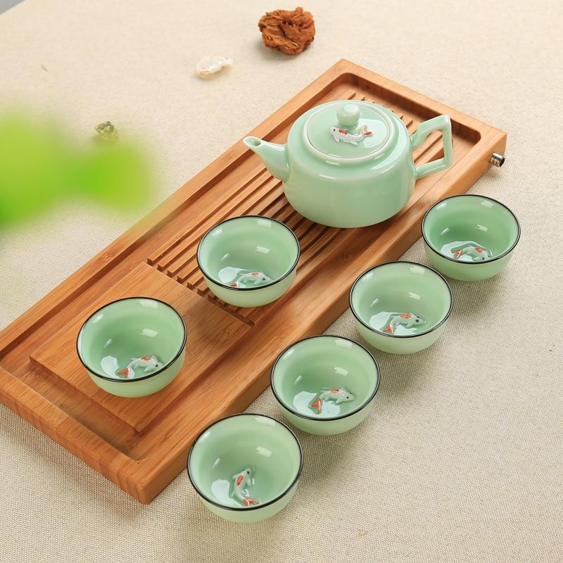 Juego de té chino de porcelana, juego de té de porcelana de celadón, juego de té de cerámica, juego de té de Kung Fu, juego de té de cerámica (no incluye bandeja)