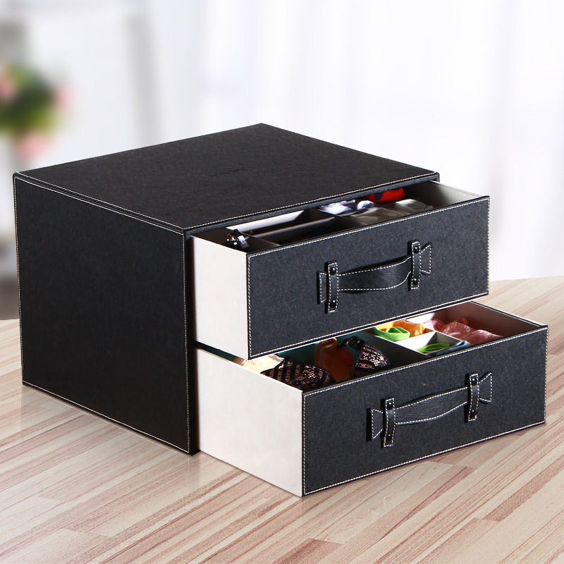 Desktop Storage Organizer PU Leather Storage Box Jewelry Tool Box Beads Pills Makeup Organizer Nail Art Tip Storage Box Case