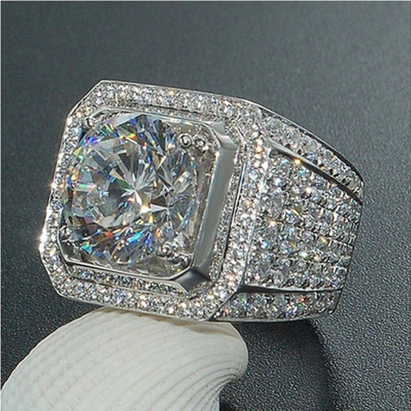 Luxury Jewelry Men Fashion White Gold Filled rings Round cut 3ct Diamonique 5A Cz Engagement wedding