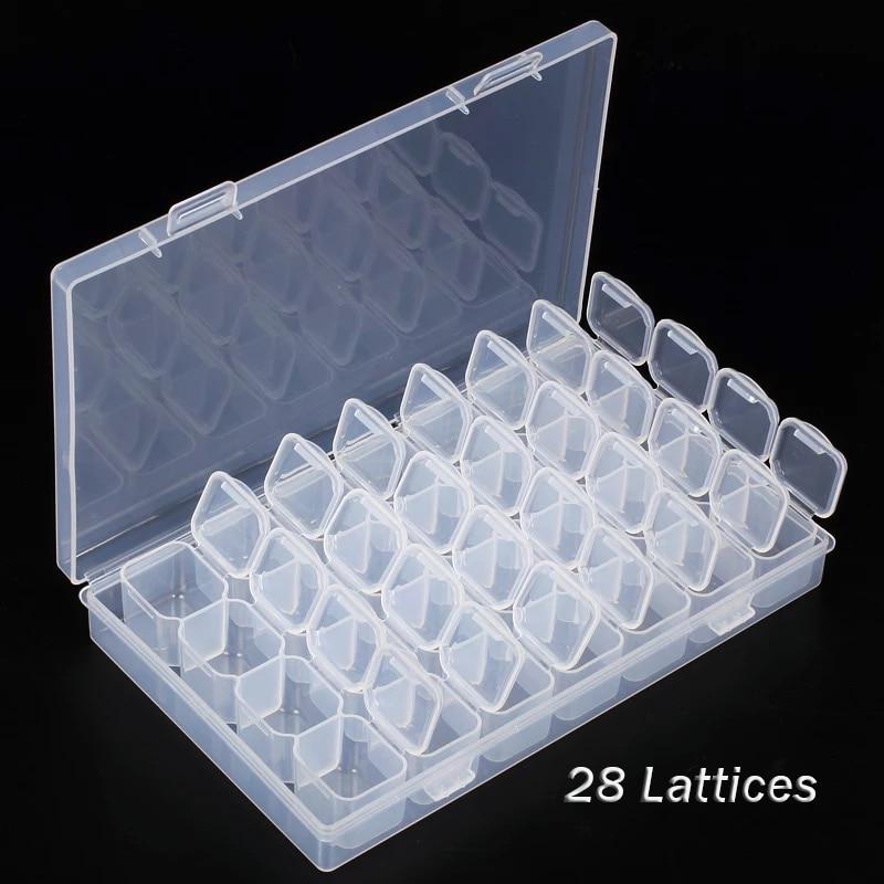 Organize 28 Slots Adjustable Plastic Storage Box Jewelry Clear Storage Box Case Diamond Embroidery Craft Bead Pill Storage Tool