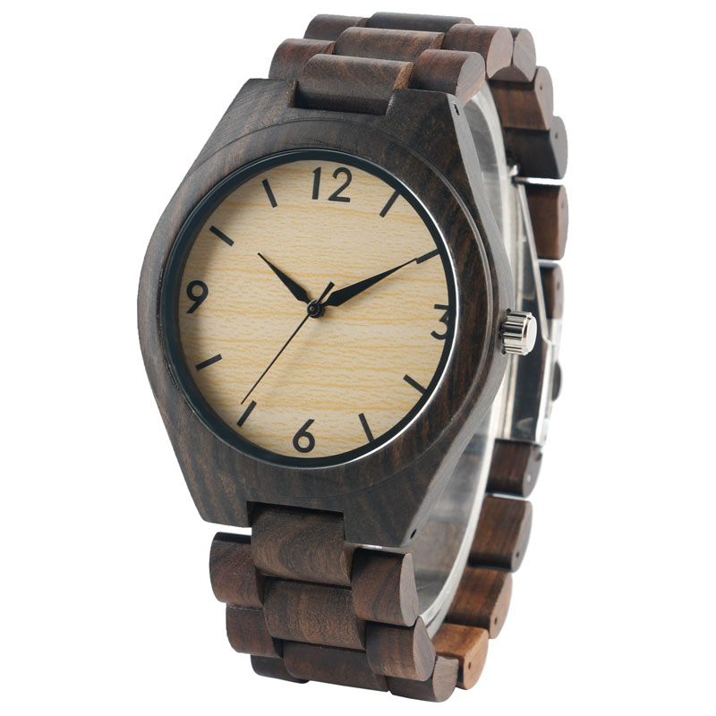 Fashion Mens Hand-mand Nature Wood Watches with Full Wooden Band Causal Quartz Wristwatch Best Gift for Men Reloj de madera