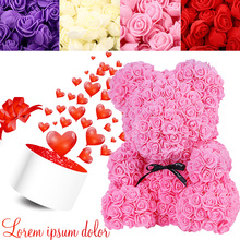 PE Rose Bear Mold Artificial Flower Creative ValentineS Day Party Wedding Festival Gift Home Decoration DIY