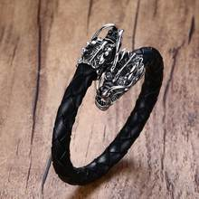 Men's Stainless Steel Dragons Head Elastic Braided Leather Open Bracelet Cuff Wristband Men Punk Bike Vintage Male Jewelry(China)