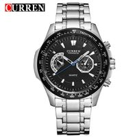 CURREN Watches Mens Quartz Fashion Casual Display Black Stainless Full Steel Strap Relogio Male Clock Wristwatch