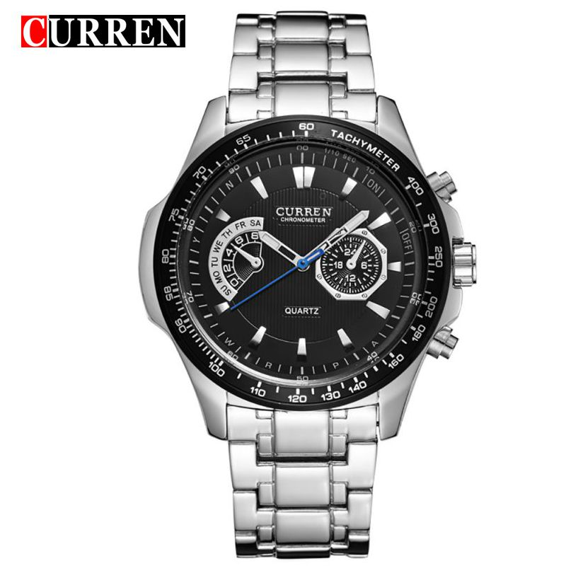 CURREN Watches Mens Quartz Fashion Casual Display Black Stainless Full Steel Strap Relogio Male Clock Wristwatch 8020 curren 8111 black stainless steel water
