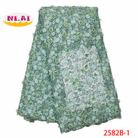 Handmade African 3D Beaded Lace Fabric 2019 High Quality Lace French Mesh Fabric Nigerian Net Laces Fabrics For Dress XY2582B 1