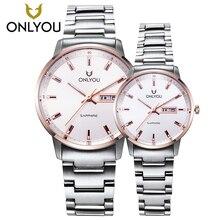 2017 homens relógios de luxo da marca ONLYOU Negócios Casual relógios mulheres de aço completa 50 m À Prova D' Água Amantes de relógios de Pulso de Quartzo