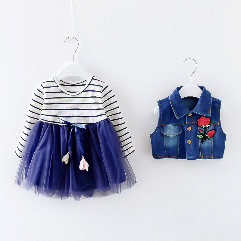 Children Girls Dress 0-3 Years Old Autumn New Fashion Style Girl Denim Dresses Flower 1 year Birthday Baby Girls Clothes HW2025