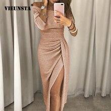 VIEUNSTA, Сексуальные вечерние платья с открытыми плечами, женское облегающее платье с высоким разрезом и баской, Осеннее блестящее платье с рукавом три четверти