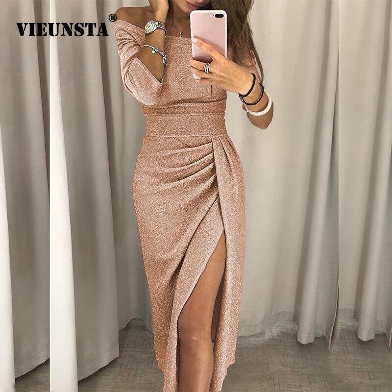 VIEUNSTA Sexy Off Schulter Party Kleid Frauen Hohe Slit Schößchen Bodycon Kleid Herbst Hülse Mit Drei Vierteln Helle Seide Glänzenden Kleid