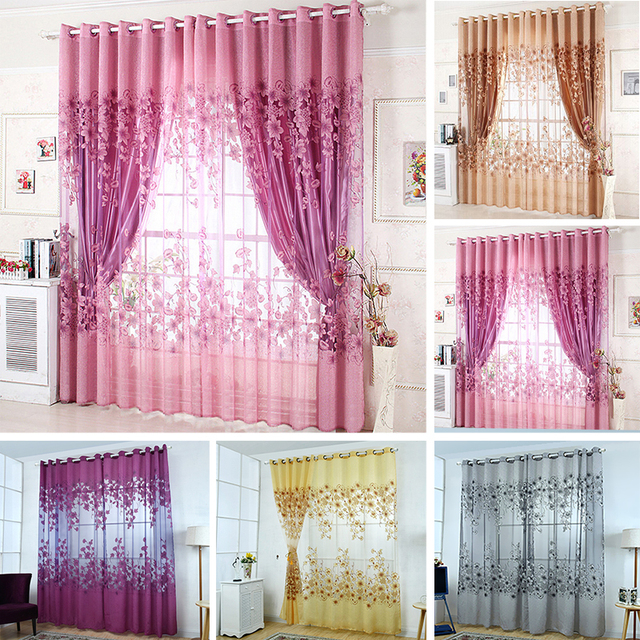 Floral Morning Glory Brilliant Flower Tulle Curtain Beautiful House
