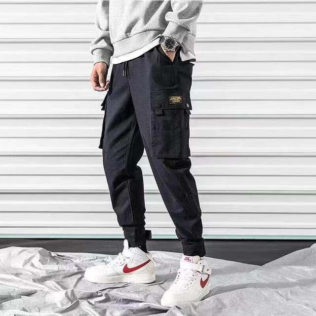 Streetwear Black Harem Pants Men Elastic Waist Punk Pants With Ribbons Casual Slim Jogger Pants Men Hip Hop Trousers 33