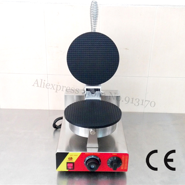 Commercial Ice Cream Cone Baker Machine Ninstick Crispy Waffle Maker Stainless Steel 220V/110V 1000W with 1 Cone Mold yu 2 commercial double head stainless steel material ice cream cone baker machine waffle cone egg roll making machine