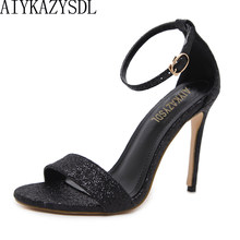 4cb441aa20b38 AIYKAZYSDL Women Pumps Sexy Sequined Bling Bling High Heels 2018 Fashion  Concise Ankle Strap Sandals Stilettos Black Dress Shoes