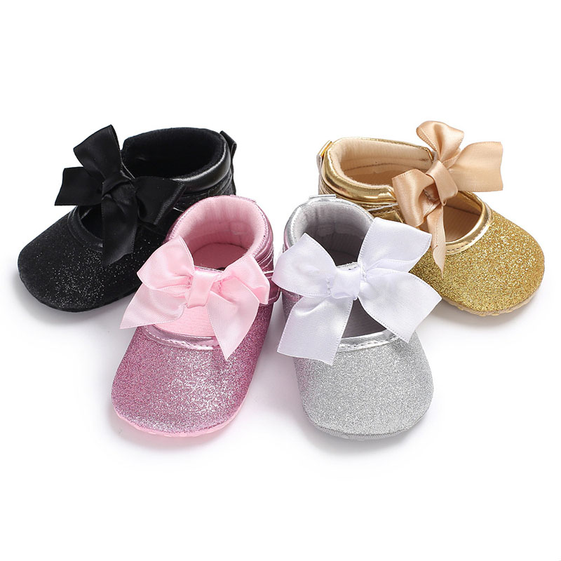 Bowknot Custom Sparkle Bling Crystals Rhinestones Baby Girls Shoes Infant 0-1 Years Ribbon Princess Shoes First Walkers XZ002