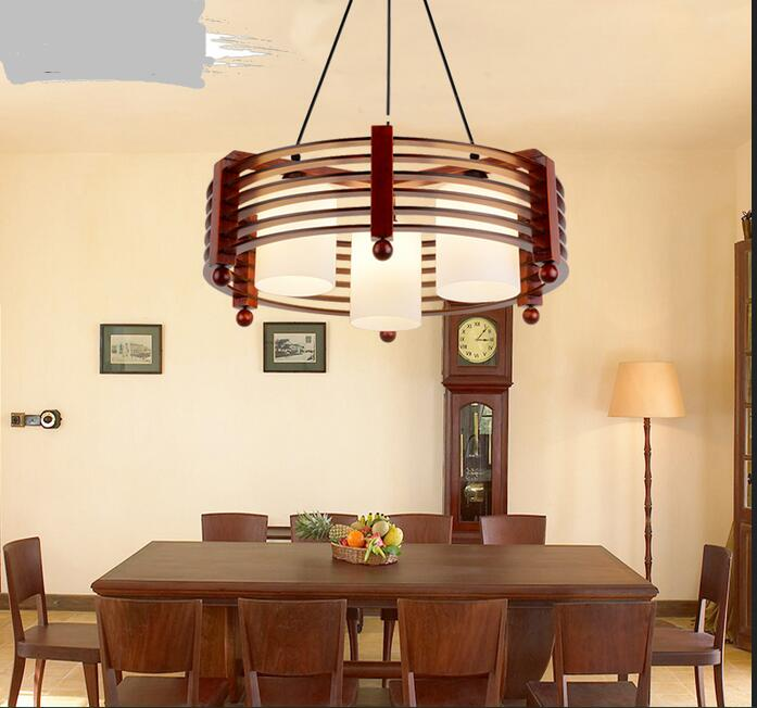 Modern Chinese Pendant Light real wood dining room lamp simple creative wood lamp table round droplight three dining hall  MZ152 free shipping modern dining table designs discount lamp shades