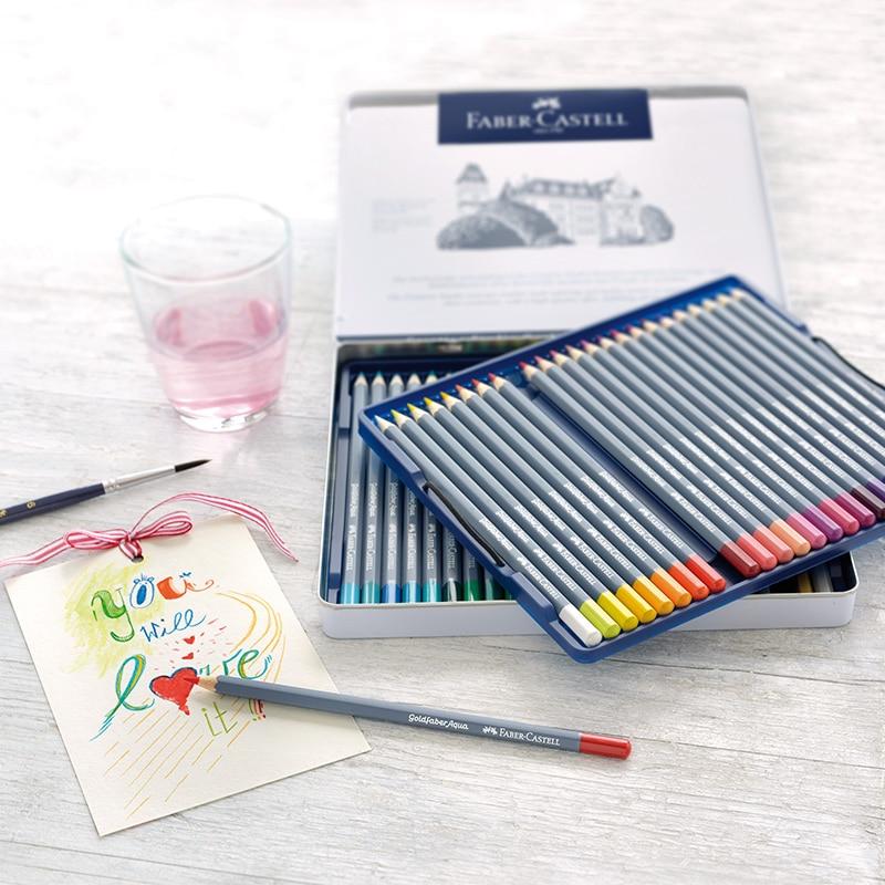 FABER CASTELL 12/24/36/48 couleur crayon de couleur soluble dans l'eau art design stylo de couleur peint à la main