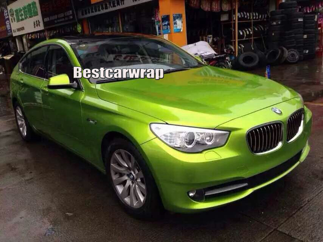 Lime Yellow Gloss Metallic Vinyl Wrap With Air Bubble Free