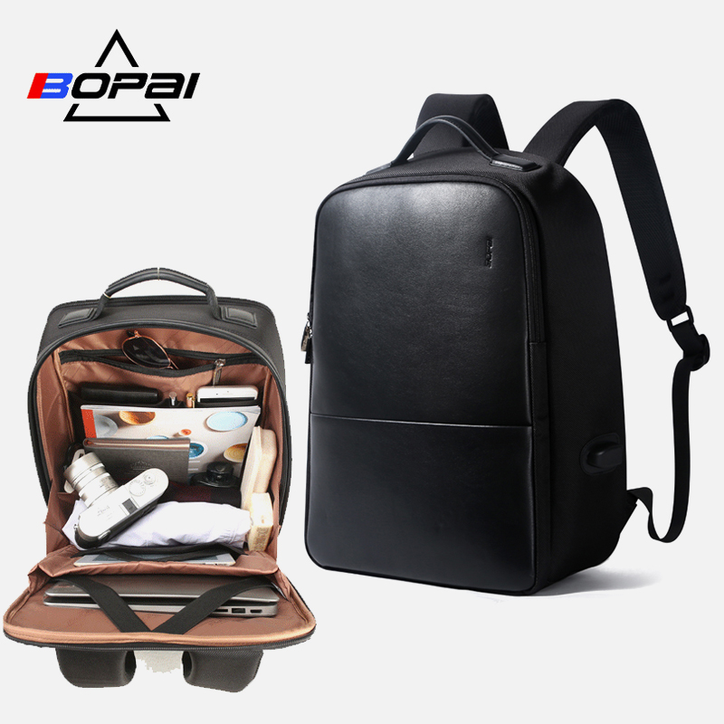 BOPAI Multifunction USB Charge Anti theft Mens Backpack Waterproof Laptop Backpack 15 6inch for Teenager School