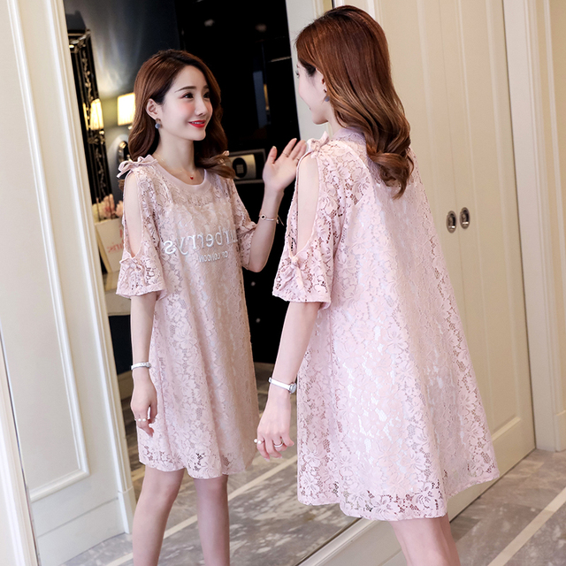 1747a82f4dde6 3021# Sweet Pink Lace Maternity Dress 2019 Summer Korean Fashion Clothes  for Pregnant Women Hollow Out Sexy Pregnancy Dress Sets