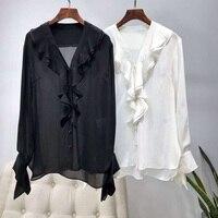Tops Fashion Blouse Shirt 2019 Spring Summer Silk Blouses Women V Neck Solid Black White Ruffle Shirt Office Lady Elegant Blouse