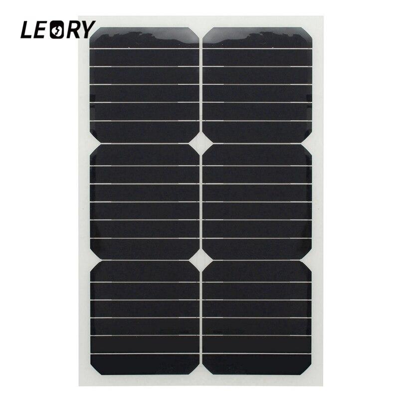 LEORY 20 W 12 V panneau solaire monocristallin Semi Flexible puissance solaire pour RV voiture bateau chargeur de batterie cellules solaires Module + puce