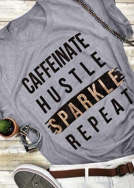 T-Shirt Frauen Sommer Kurzarm Lustige t hemd Brief Drucken Caffeinate Gedränge Sparkle Wiederholen Oansatz T-shirt Femme Damen Tops