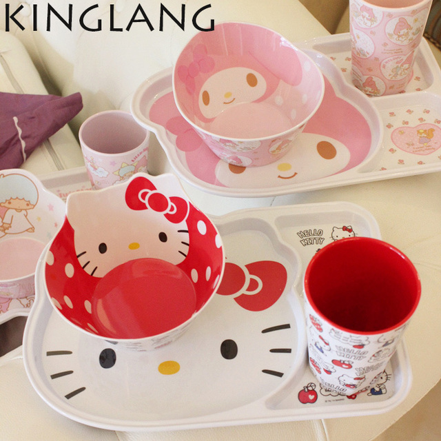 HELLO KITTY Kitchen Dinnerware Sets Plastic Cup Kit School Lunch Dinner Set  For Kids Promotion Cartoon