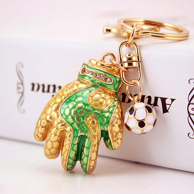 Personalized  Football Gloves Key Chain Metal KeyChain Women Bag Charms Car Key Ring Key Holder Football Fans Gift PWK0594