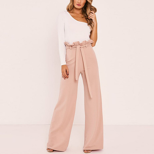 f1ca556b5df32 2018 FREE PANTS Linen Trousers pants loose solid color wide leg pants  straight casual women pants S-XL Solid pink white trousers