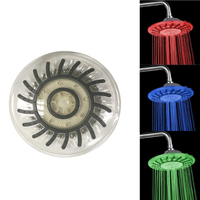 8 Inch 20cm * 20cm 3 Colors Changing Water Powered Rain Led Shower Head Led Without Showerheads Bathroom Temerpature Automatic