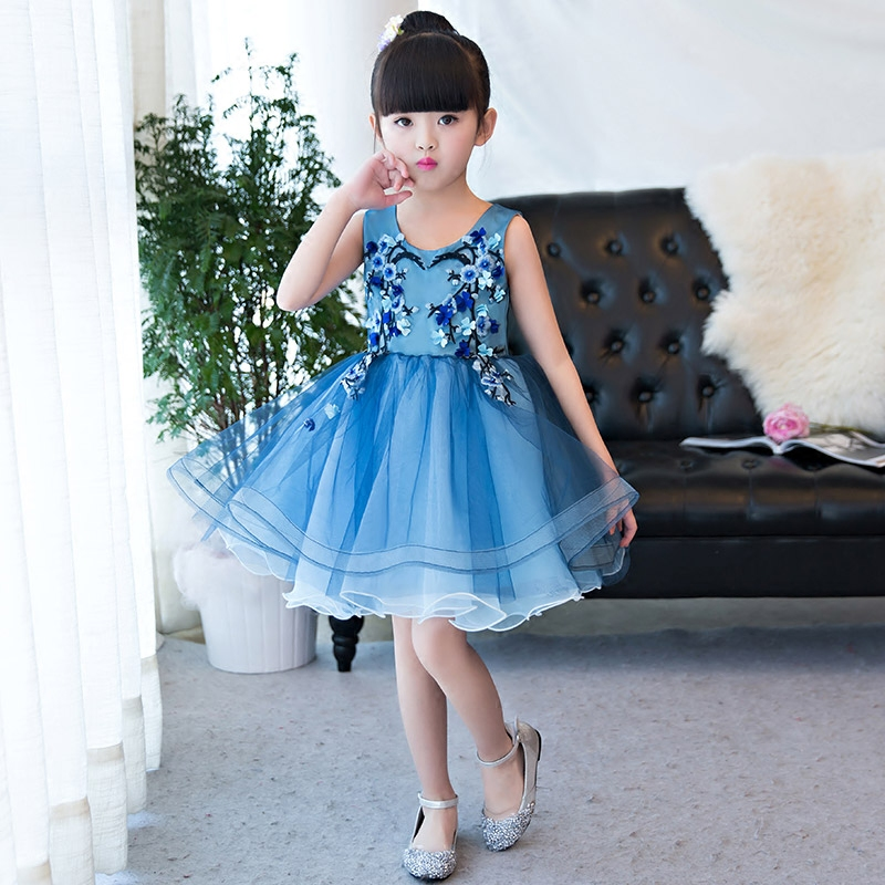 Summer Embroidery Flower Princess Lace Dresses Party Birthday Baby Girls Dresses Clothes Tutu Kids Dress Children Elegant 2017