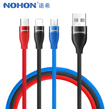NOHON USB Lighting Charger Cables For iPhone X 7 8 6 Plus Micro Type C Samsung Xiaomi 5 Universal 3 in 1 Charging Cable