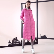 Womens Winter Jackets And Coats Printed Plaid Long Section Parka Sweet Feminine Coat Fashion Down Jackets Female C821