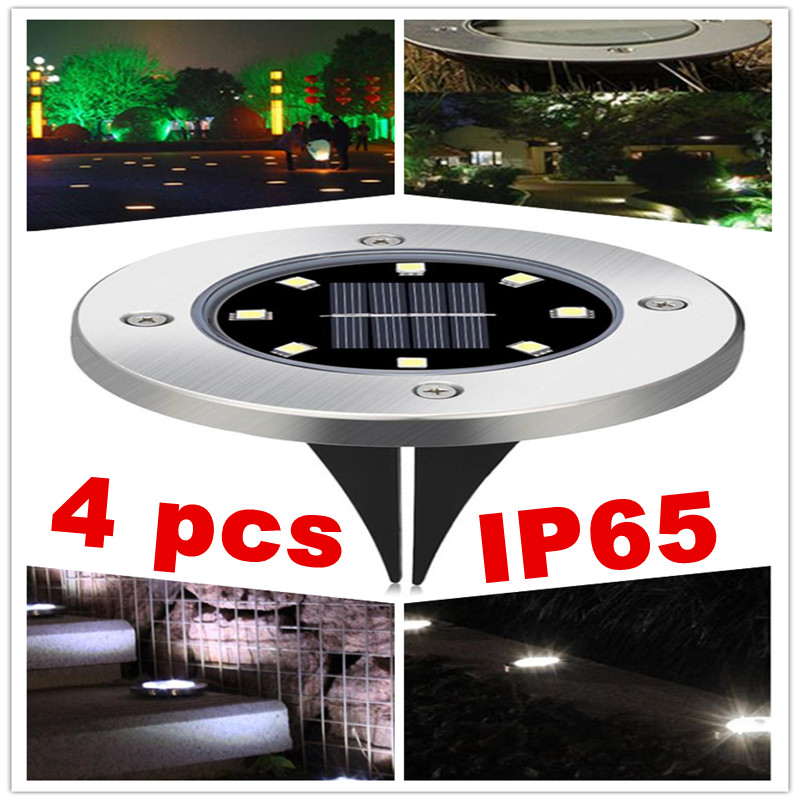LED Solar Powered Ground Light IP65 Waterproof Garden Pathway Deck Lights with 8LEDs Solar Lamp for Home Yard Driveway Lawn Road css rechargeable waterproof solar powered 30 led spot light white lamp with lithium battery inside for lawn garden road hot