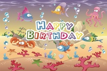 Laeacco Cartoon Underwater World Fish Coral Happy Baby Birthday Party Children Photo Backdrop Background Photocall Studio