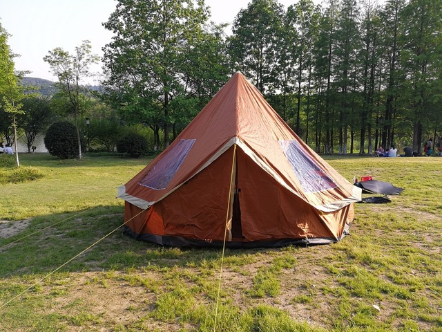 DANCHEL 300D Silver Coated Ripstop Plaid Oxford Cloth 4M Bell Tent Green and Orange & DANCHEL 300D Silver Coated Ripstop Plaid Oxford Cloth 4M Bell Tent ...
