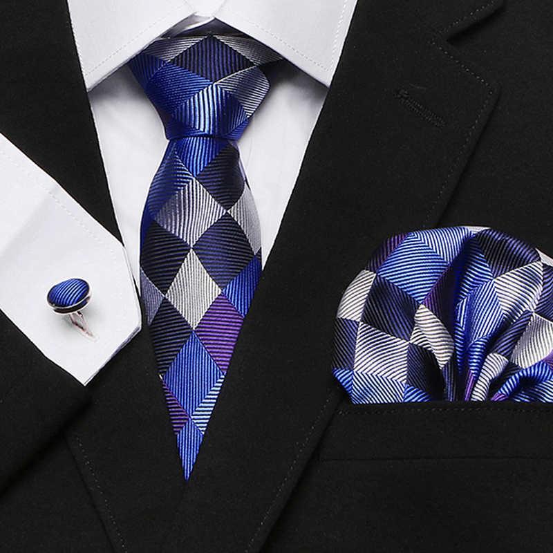 Hommes cravate 100% soie rouge Plaid imprimé Jacquard tissé cravate + Hanky + boutons de manchette ensembles pour formelle mariage affaires fête frais de port gratuits