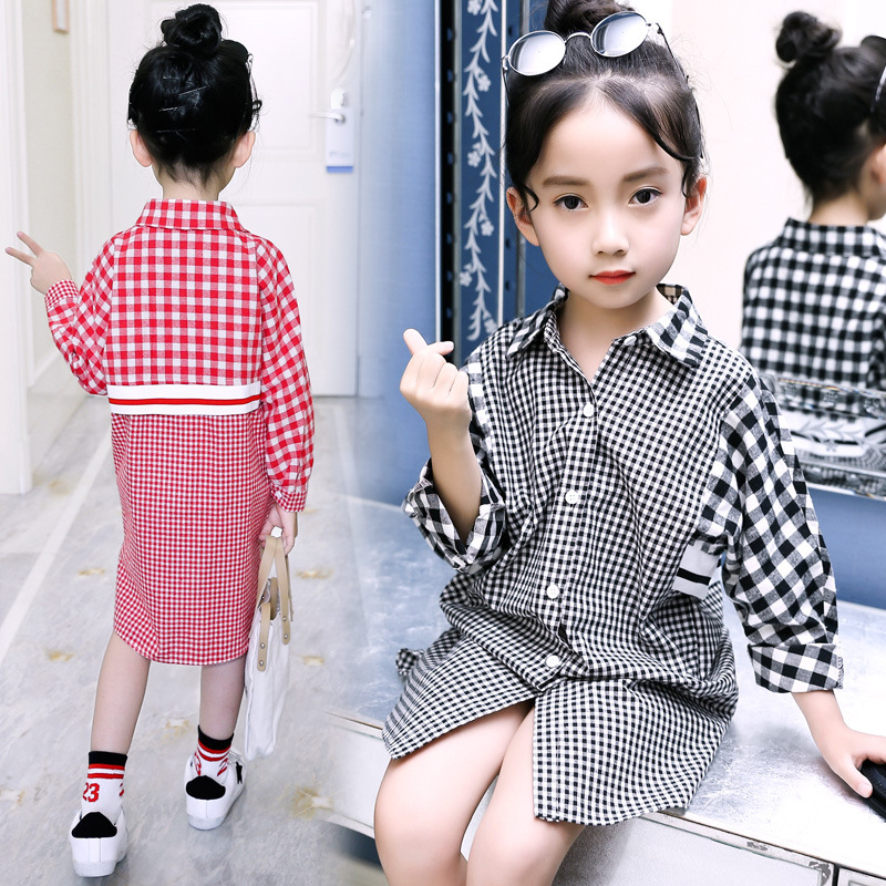 Kids Girls Blouse Long-sleeve Shirt for Girls 2018 Spring Teenage Girls Coats and Jackets Long Top Black Red Plaid Shirt Clothes classic plaid pattern shirt collar long sleeves slimming colorful shirt for men
