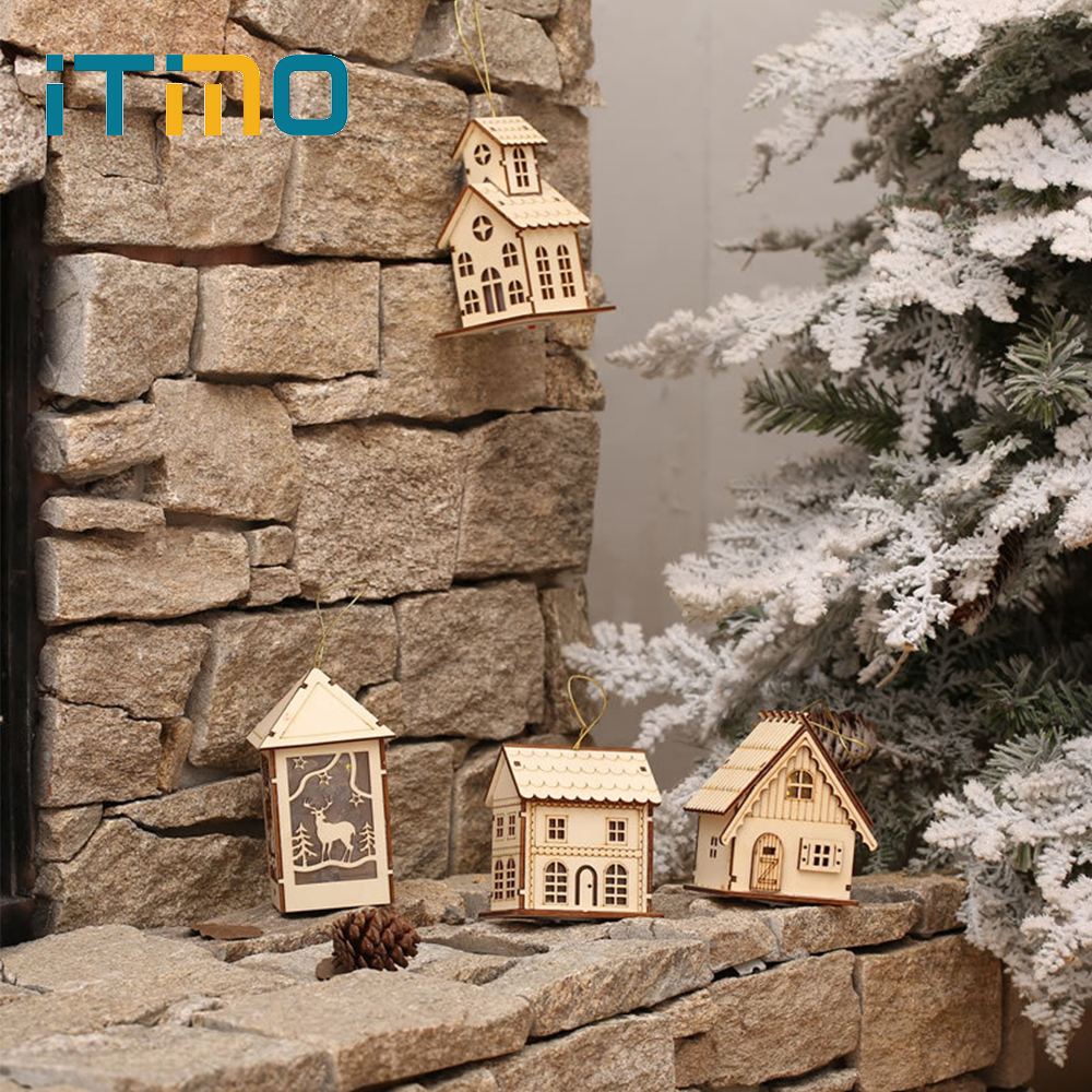 ITimo Holiday Party Decoration Xmas Tree Pendants Small Wooden House Table Lamp LED Light Christmas Tree Hanging Ornaments